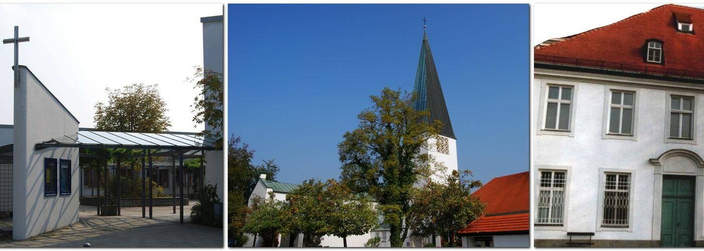 Collage Genezareth-Kirche Maria-Magdalena-Kirche Schlosskapelle Haimhausen